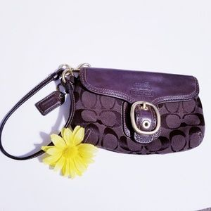 Coach Zip Wristlet with Snap Closure Pocket